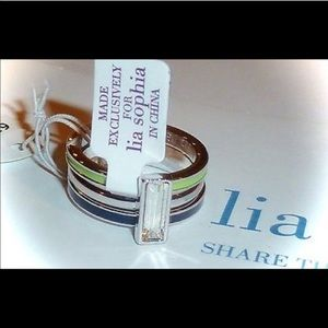 "Lia Sophia ""Three's Company"" set of 3 rings nwt"